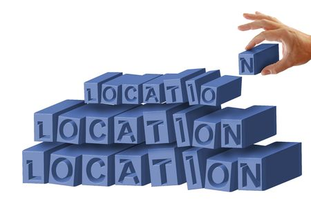 Location, location, location written on an isolated white background, hand holds letter N. photo