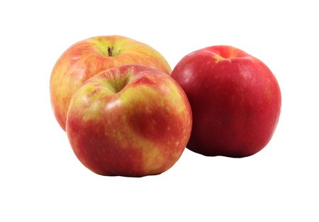Three Gravenstein apples, isolated on a white background.
