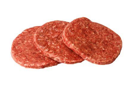 Three raw hamburger patties on a white background