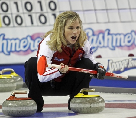 CHARLOTTETOWN, CANADA - FEBRUARY 24: Team Canada skip Jennifer Jones at the 2011 Scotties Tournament of Hearts national womens curling championship on February 24, 2011 in Charlottetown, Canada.