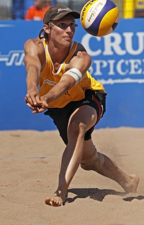 HALIFAX, CANADA - SEPTEMBER 2, 2011 - Jonas Schroder of Germany at the FIVB Beach Volleyball Swatch Junior World Championships on Sept. 2, 2011 in Halifax, Canada.