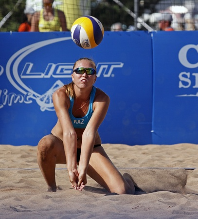 beach volleyball: HALIFAX, CANADA - SEPTEMBER 2, 2011 - Marina Pilipenko of Kazakhstan at the FIVB Beach Volleyball Swatch Junior World Championships on Sept. 2, 2011 in Halifax, Canada.