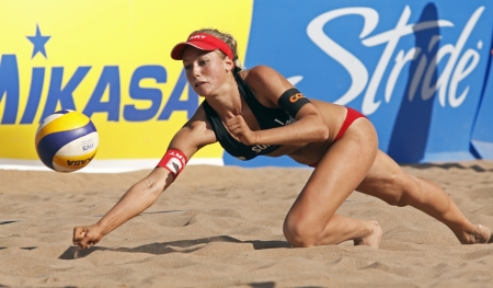 HALIFAX, CANADA - SEPTEMBER 2, 2011 - Nina Betschart of Switzerland at the FIVB Beach Volleyball Swatch Junior World Championships on Sept. 2, 2011 in Halifax, Canada.