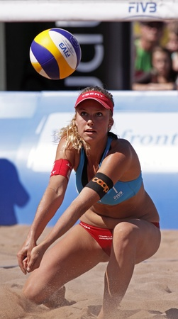 HALIFAX, CANADA - SEPTEMBER 3, 2011 - Nina Betschart of Switzerland at the FIVB Beach Volleyball Swatch Junior World Championships on Sept. 3, 2011 in Halifax, Canada. Stock Photo - 10677886