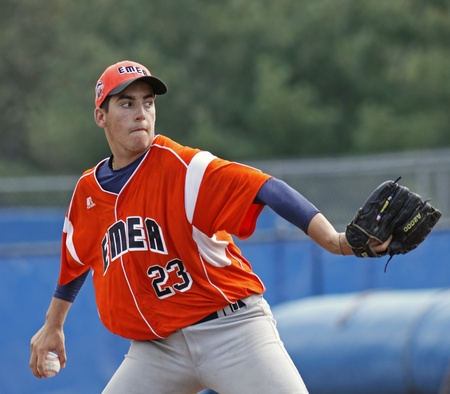 BANGOR, MAINE - AUGUST 19, 2011 - Simone Bazzarini pitches for EMEA (Italy) at the Senior League Baseball World Series semifinals against US West (Hilo, Hawaii) August 19, 2011 in Bangor, Maine. Editorial