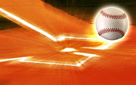 plate: Baseball ball flying out of home plate, ball field.