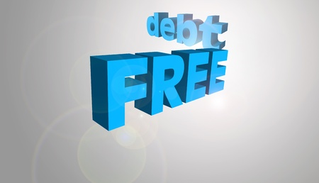 possibly: 3D text concept for the message Debt Free, possibly for a business or personal strategy.