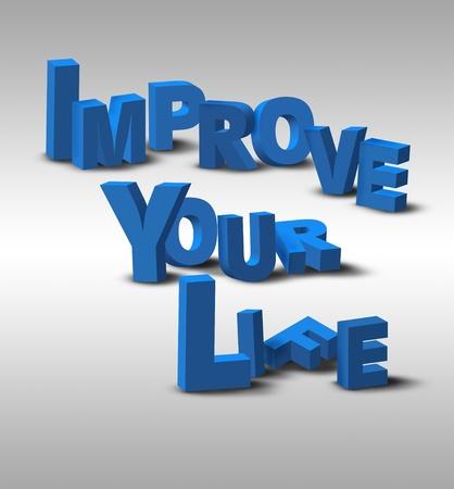 """actitud positiva: Un inspirador mensaje de texto en 3D, """"Mejora tu vida"""", posiblemente por un negocio o una estrategia personal."""