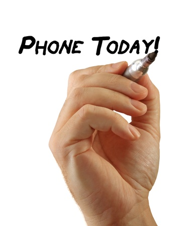 Closeup of a hand writing a message Phone Today with a marker, possibly for a business strategy, isolated on a white background.
