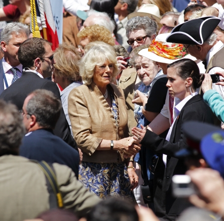 Saint John, Canada - May 21 - Camilla, Duchess of Cornwall, greets people during a walkabout on Prince William Street in Saint John on May 21, 2012, in Saint John, Canada.