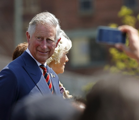 Saint John, Canada - May 21 - Charles, Prince of Wales, takes part in a ceremony at the Marco Polo cruise terminal wth Camilla, Duchess of Cornwall, on May 21, 2012, in Saint John, Canada.