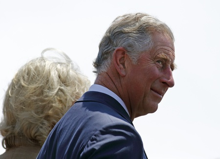 Saint John, Canada - May 21 - Charles, Prince of Wales, takes part in a ceremony at the Marco Polo cruise terminal with Camilla, Duchess of Cornwall, on May 21, 2012, in Saint John, Canada.