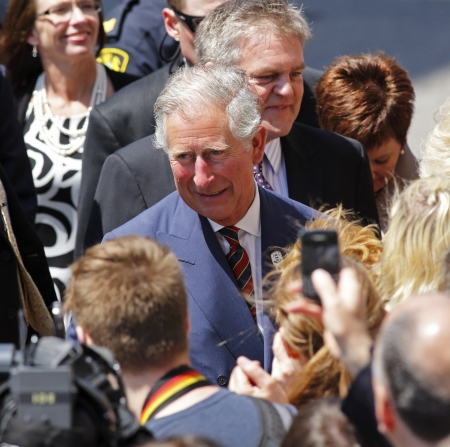prince charles of england: Saint John, Canada - May 21 - Charles, Prince of Wales, greets the public on a walkabout on Prince William Street on May 21, 2012, in Saint John, Canada. Editorial