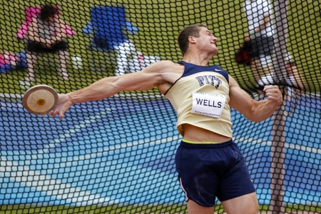 MONCTON, CANADA - June 22: Andrew Wells throws the discus at the Canadian Track & Field Championships June 22, 2013 in Moncton, Canada.