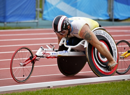 MONCTON, CANADA - June 22: 10,000-meter run wheelchair athlete Joshua Cassidy at the Canadian Track & Field Championships June 22, 2013 in Moncton, Canada.