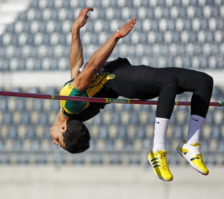MONCTON, CANADA - June 22  High jumper Ali er-Rahab at the Canadian Track   Field Championships June 22, 2013 in Moncton, Canada