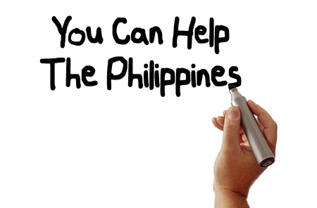 Hand writing You Can Help The Philippines, isolated on white background. photo