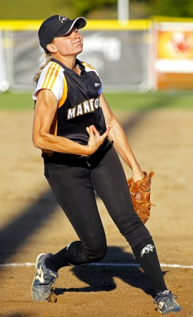 SHERBROOKE, CANADA - August 5: Manitoba pitcher Regan Lawrence in womens softball at the Canada Games August 5, 2013 in Sherbrooke, Canada.