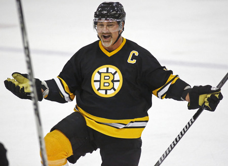 middleton: Former NHL superstar Ray Bourque celebrates a goal at a Boston Bruins alumni hockey game March 20, 2014 in Sussex, Canada.