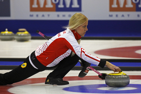 SAINT JOHN, CANADA - March 19: Madeleine Dupont of Denmark at the Ford World Womens Curling Championship March 19, 2014 in Saint John, Canada.