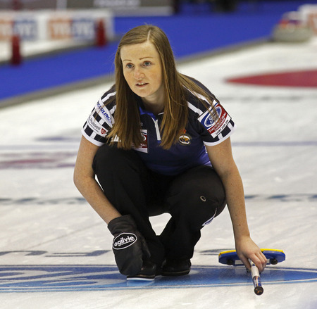 SAINT JOHN, CANADA - March 19: Skip Kerry Barr of Scotland follows the stone at the Ford World Women's Curling Championship March 19, 2014 in Saint John, Canada.