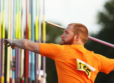 kyle: MONCTON, CANADA - June 28  Kyle Nielsen aims the javelin at the Canadian Track   Field Championships June 28, 2014 in Moncton, Canada