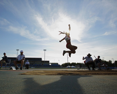 long jump: Divyajyoti Biswal competes in the womens long jump at the Canadian Track  Field Championships June 28, 2014 in Moncton, Canada. Editorial