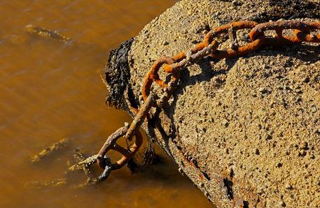 rusty chain: Rusty marine chain by a pier.