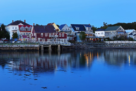 andrews: Twilight reflections of buildings and lights on waterfront at Saint Andrews, New Brunswick, Canada.