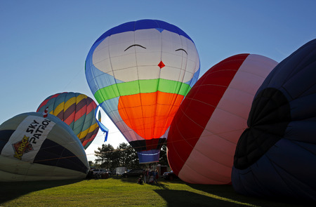 Evening launch at the 30th annual Atlantic International Balloon Fiesta in Sussex, New Brunswick, Canada, Sept. 12, 2015.