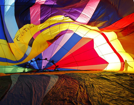 The inside pattern of a hot air balloon as it inflates for the evening launch at the 30th annual Atlantic International Balloon Fiesta in Sussex, New Brunswick, Canada, Sept. 12, 2015.