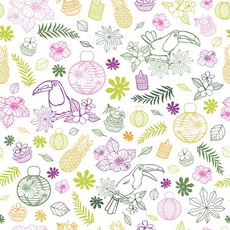 Vector white background with colourful tropical birthday party elements seamless pattern background with toucan and paper lanterns. Perfect for fabric, scrapbooking, wallpaper projects.
