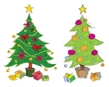 Vector colourful hand drawn christmas trees illustration. Suitable for greeting cards. Cartoon illustration.