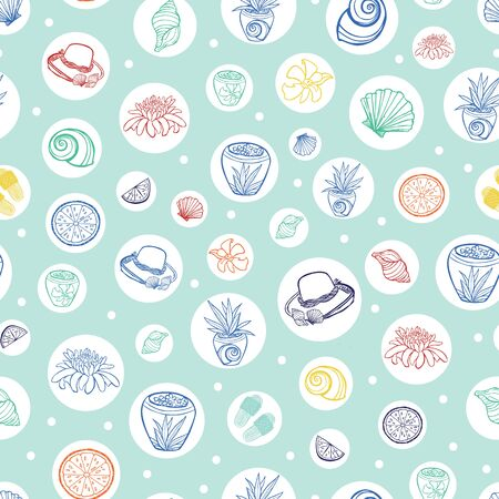 Vector pastel green tropical beach resort repeat pattern with circles. Suitable for gift wrap, textile and wallpaper. Surface pattern design.