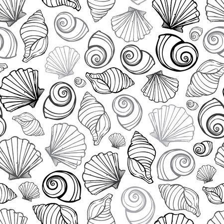 Vector black, white and grey seashells repeat pattern. Suitable for gift wrap, textile and wallpaper. Surface pattern design. Ilustração