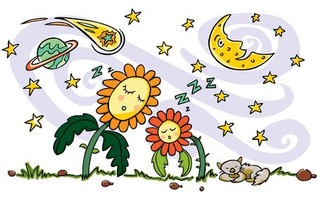 Colourful vector drawing. Cute sleeping sun flowers, cat, crescent moon, planet, comet and shooting stars elements. Quiet good night and space theme. Illustration