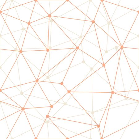 Vector Abstract Triangle Geometrical Orange thin Outlines with dots Background. Suitable for textile, gift wrap and wallpaper.