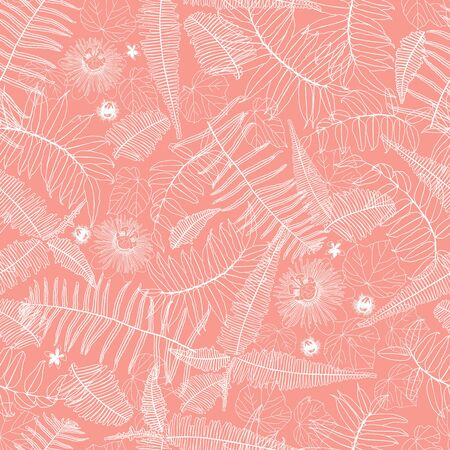 Vector coral pink seamless pattern with ferns, leaves and wild flower. Suitable for textile, gift wrap and wallpaper. Surface pattern design.