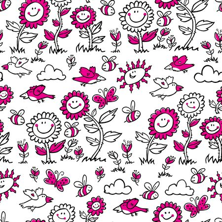 Vector black and white with magenta cartoon sunflowers, birds and bees repeat pattern. Suitable for gift wrap, textile and wallpaper. Surface pattern design.