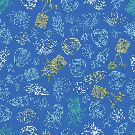 Vector blue tropical pattern with ginger flowers, basket plants and bali style ceramic pots. Perfect for fabric, scrapbooking, wallpaper projects. Surfact pattern design.