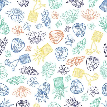 Vector white tropical pattern with ginger flowers, basket plants and bali style ceramic pots. Perfect for fabric, scrapbooking, wallpaper projects. Surfact pattern design. Иллюстрация
