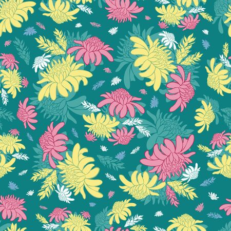 Vector teal green seamless pattern with tropical torch ginger flowers. Suitable for textile, gift wrap and wallpaper. Stock Illustratie