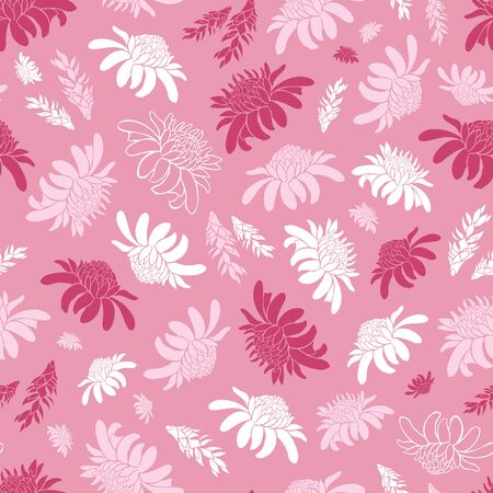 Vector pink seamless pattern with tropical torch ginger flowers. Suitable for textile, gift wrap and wallpaper. Stock Illustratie