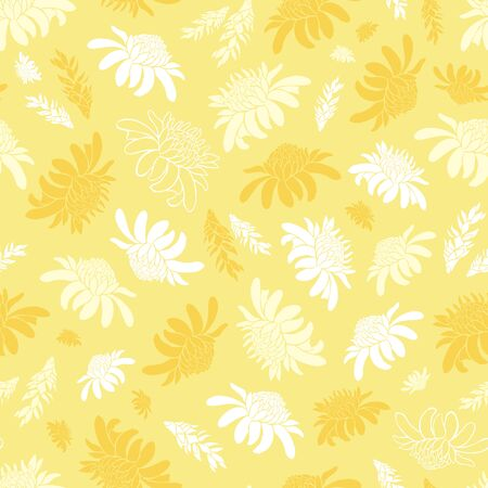 Vector yellow seamless pattern with tropical torch ginger flowers. Suitable for textile, gift wrap and wallpaper.
