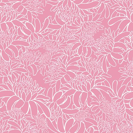 Vector pink seamless pattern with tropical torch ginger flowers outlines. Suitable for textile, gift wrap and wallpaper. Stock Illustratie