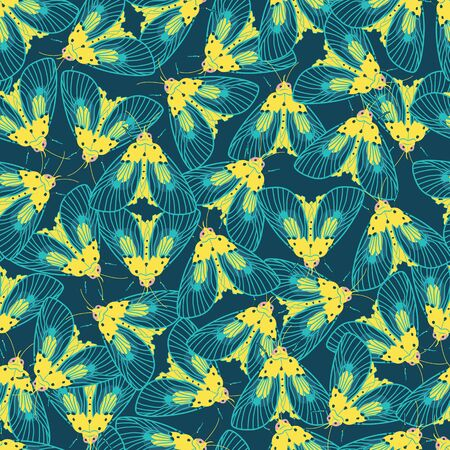 Vector blue and yellow moths with detailed wings outlines repeat pattern. Suitable for gift wrap, textile or wallpaper. Illusztráció