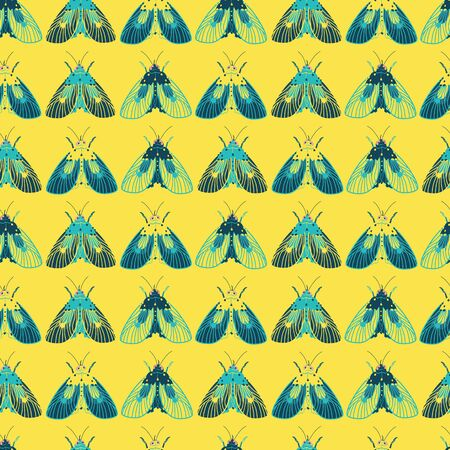 Vector yellow moths rows repeat pattern. Suitable for gift wrap, textile or wallpaper.