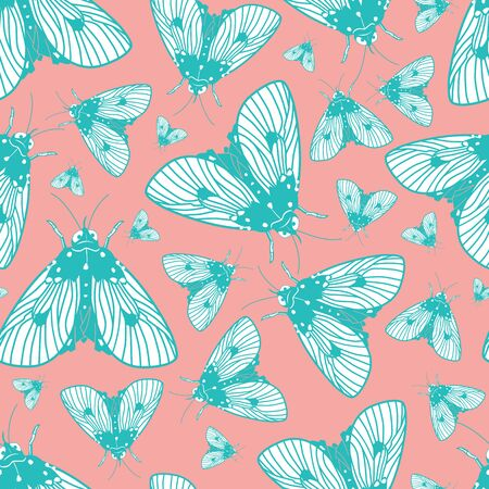 Vector blue and pink moths pattern. Suitable for gift wrap, textile or wallpaper.