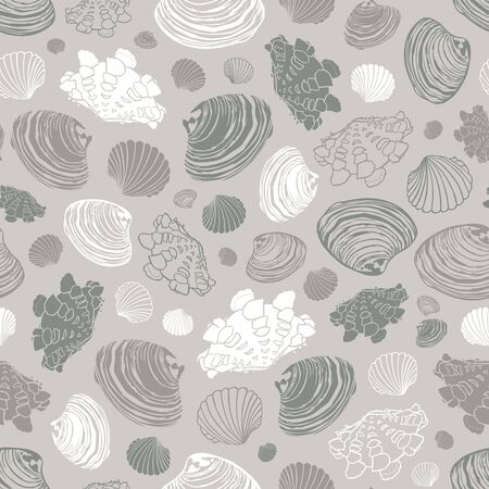 Vector neutral grey repeat pattern with variety of clam seashells. Suitable for textile, giftwrap and wallpaper.