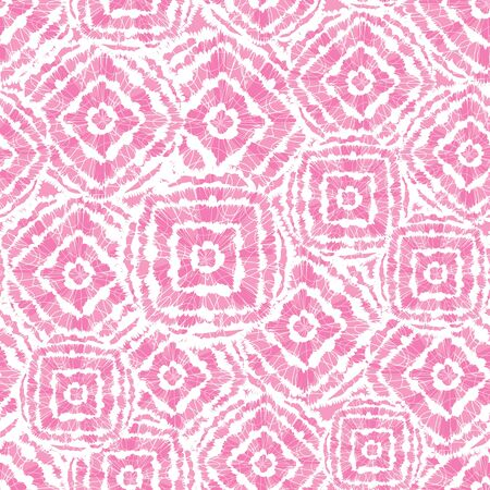 Vector pink shibori diamond and squares overlap patten. Suitable for textile, gift wrap and wallpaper.